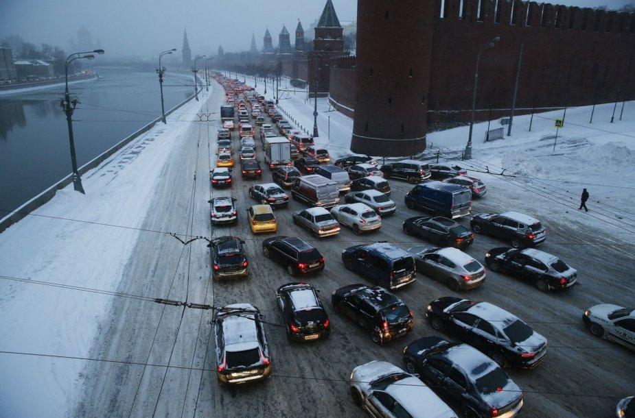 Maskvoje paralyžiuotas eismas.