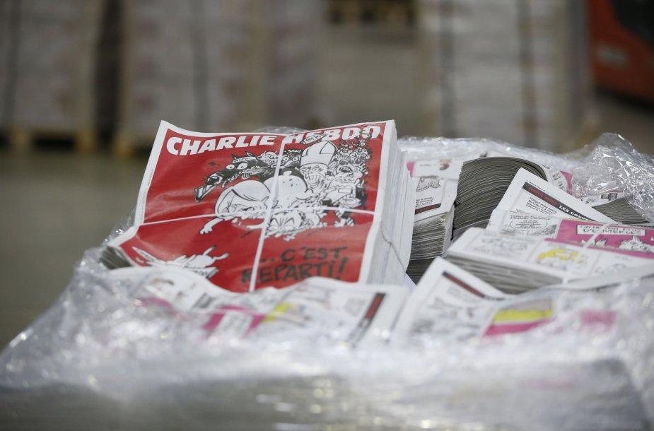"""""""Charlie Hebdo"""" savaitraštis spaustuvėje"""