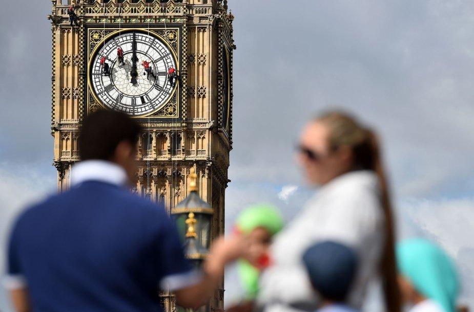 Valomas Didžiojo Beno laikrodžio ciferblatas
