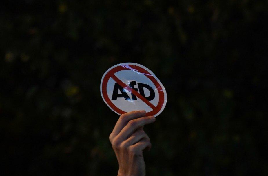 """Protestas prieš partijos Alternatyva Vokietijai"""" (AfD) patekimą į parlamentą"""