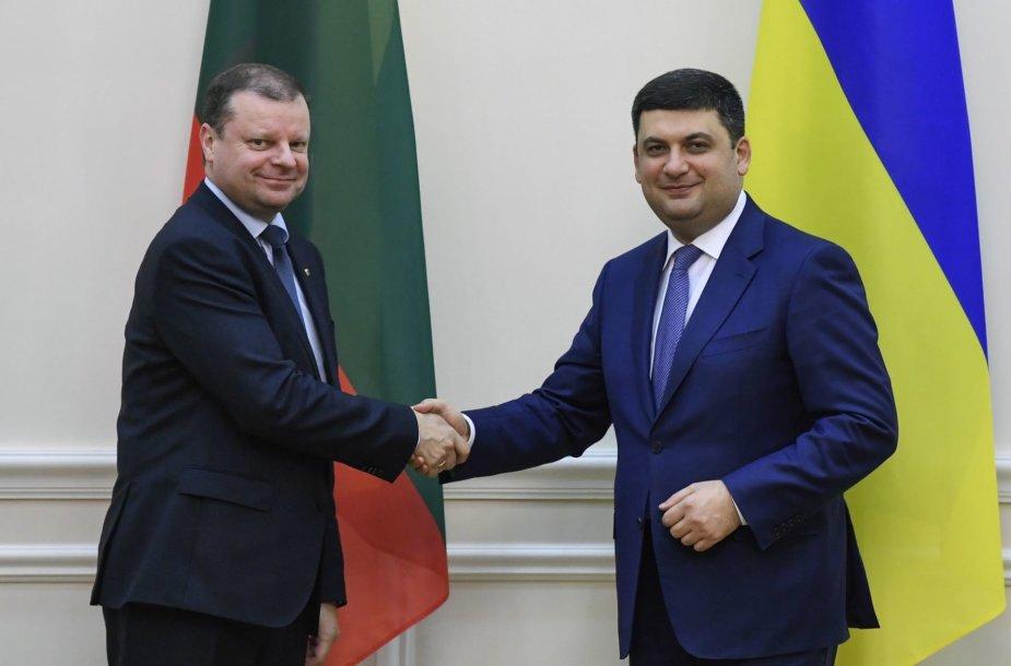Saulius Skvernelis vizito Ukrainoje metu susitiko su šios valstybės premjeru Volodymyru Groysmanu