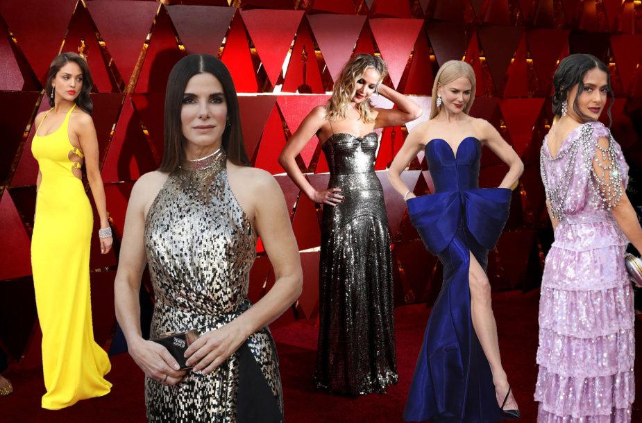 """""""Oskarų"""" viešnios (iš kairės): Eiza Gonzalez, Sandra Bullock, Jennifer Lawrence, Nicole Kidman ir Salma Hayek"""