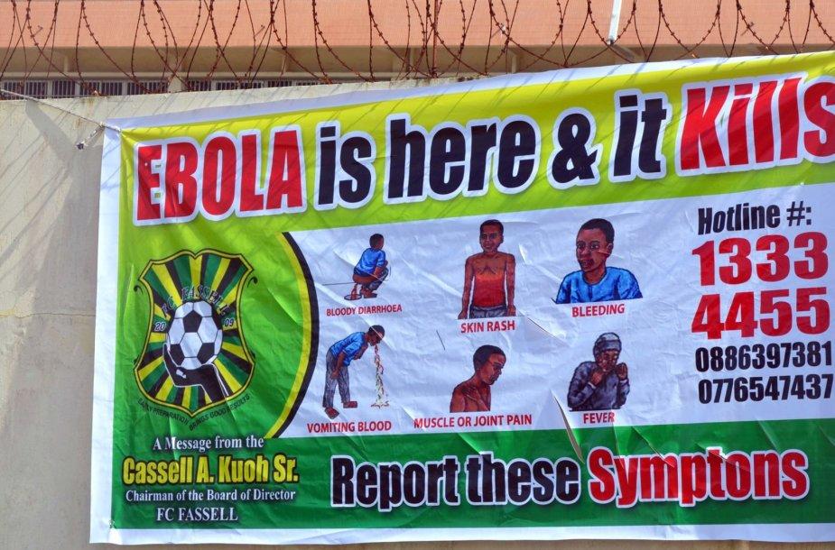 Apie Ebolos viruso grėsmę perspėjantis plakatas Liberijoje