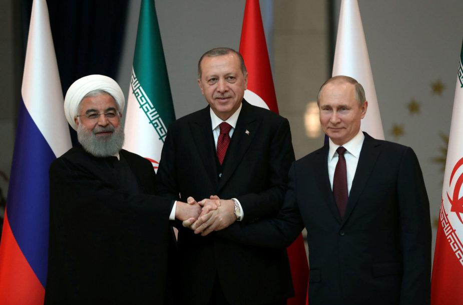 H.Rouhani, R.T.Erdoganas ir V.Putinas