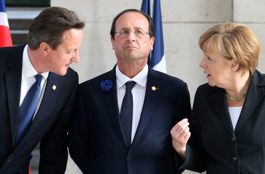 Davidas Cameronas, Francois Hollandas ir Angela Merkel