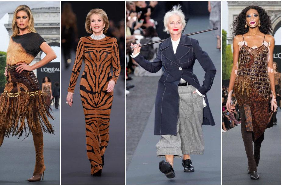 """""""L'Oreal"""" madų šou žvaigždės Doutzen Kroes, Jane Fonda, Helen Mirren ir Winnie Harlow"""