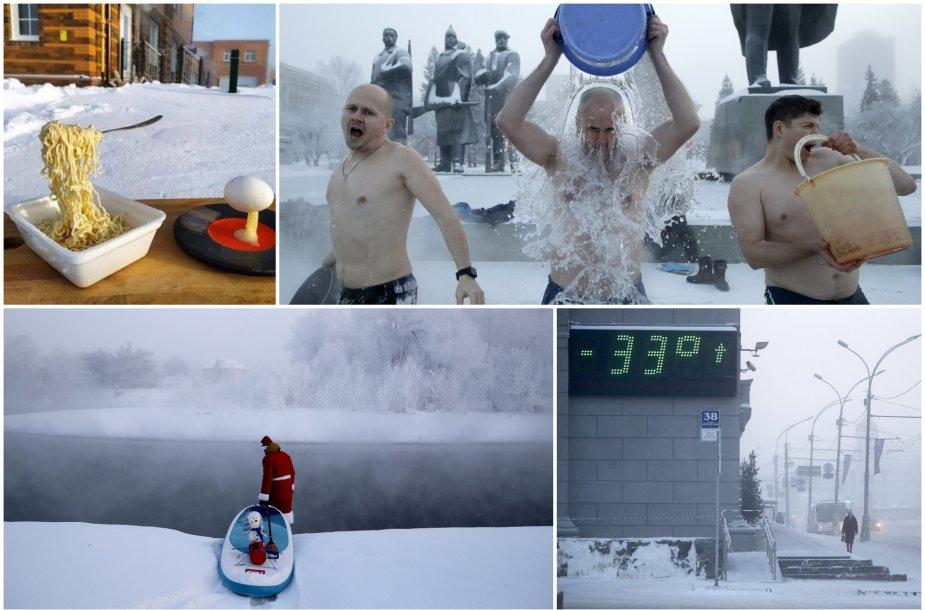 Sibiro gyventojai prisigalvojo neįprastų pramogų, temperatūrai nukritus net iki -44 C