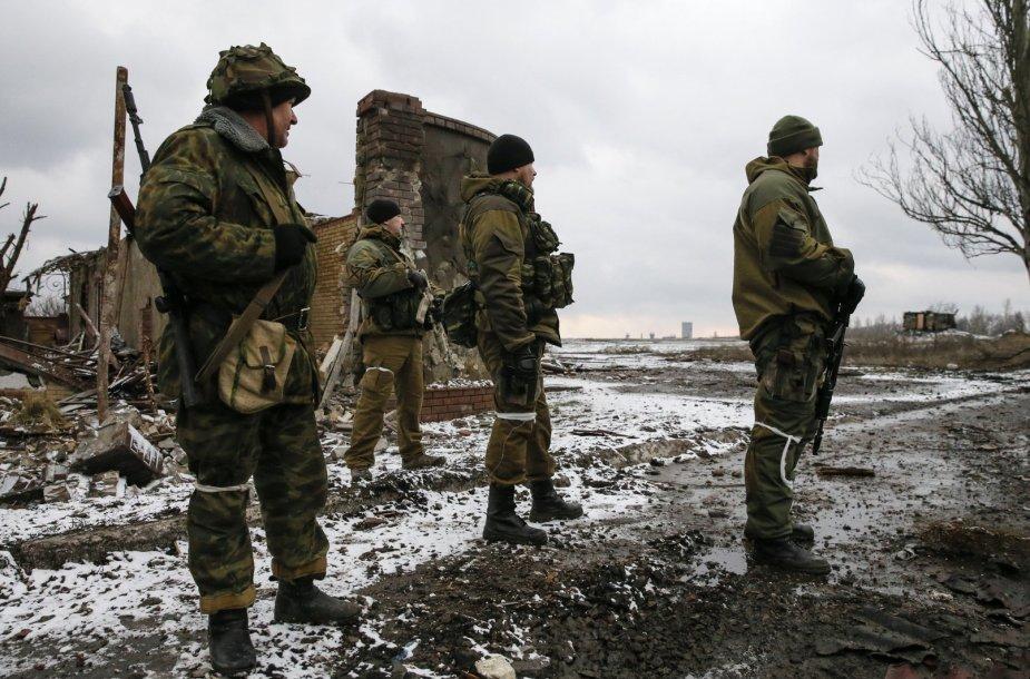 Rusijos teroristai prie  Vuhlehirsko miesto