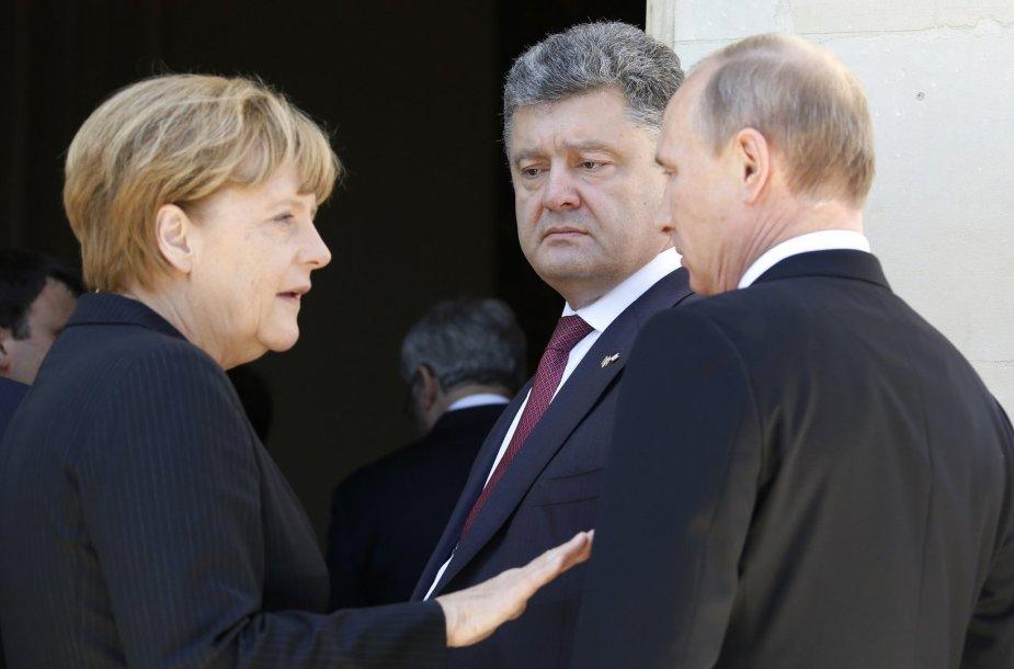 Angela Merkel, Petro Porošenko ir Vladimiras Putinas
