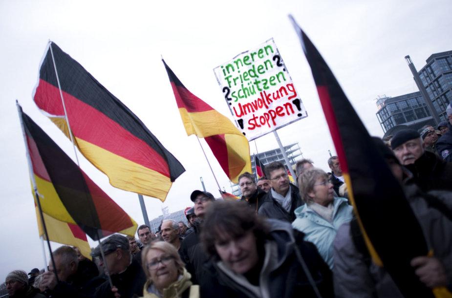 AfD šalininkų protestas prieš migraciją
