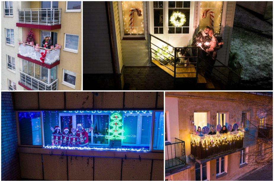 Vilniečiai įžiebia Kalėdas balkonuose
