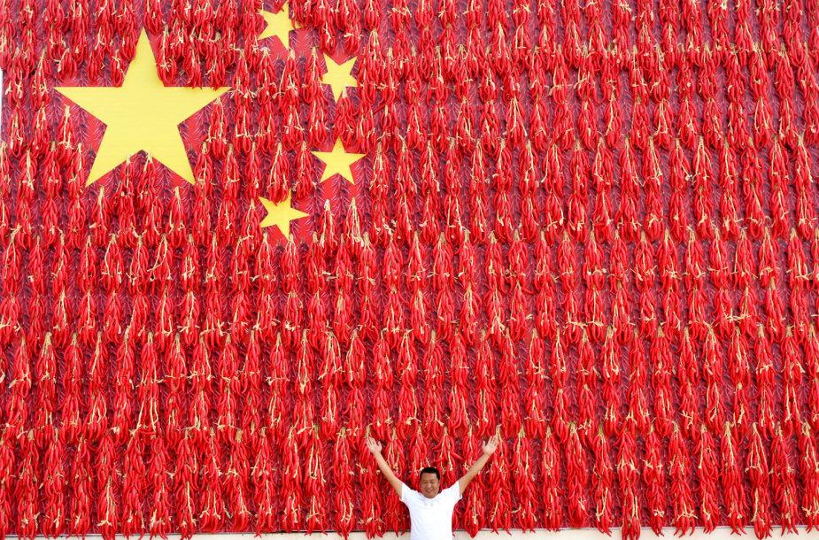 Kinijos vėliava iš aitriųjų pipirų
