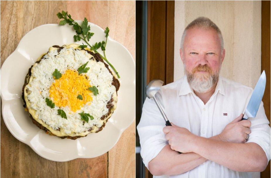 Vytaras Radzevičius ir jo gamintas kepenėlių tortas