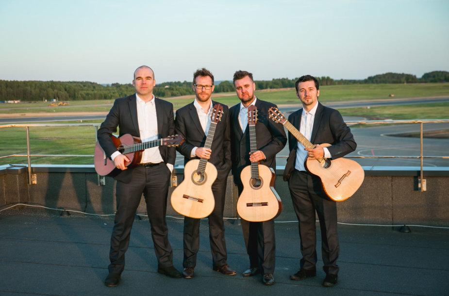 Baltijos gitarų kvarteto vaizdo klipo filmavimo akimirka
