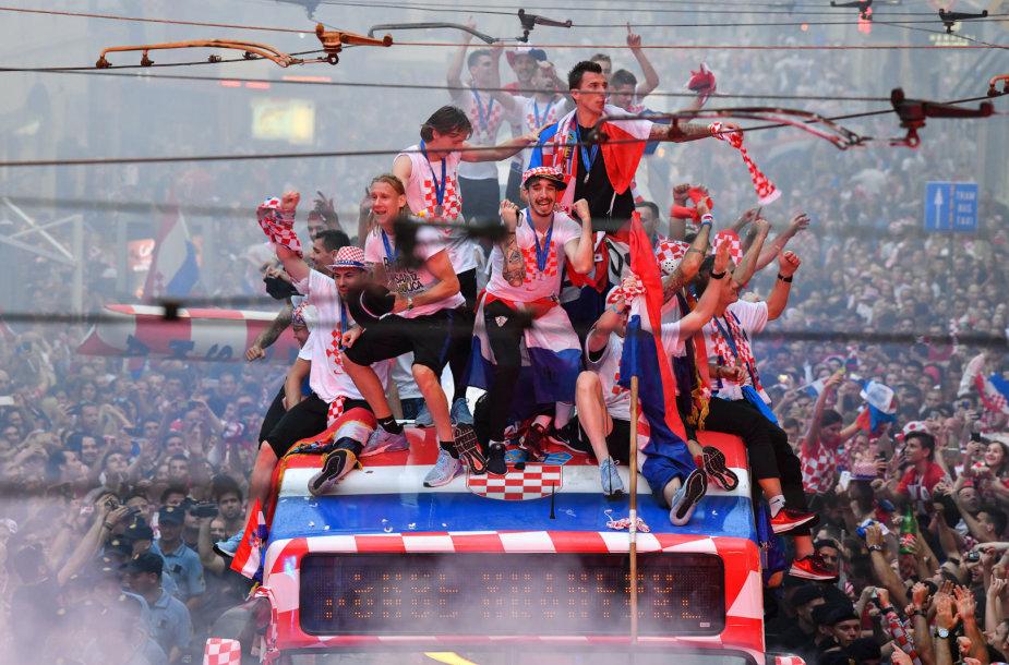 Kroatijos futbolininkai buvo sutikti tėvynėje lyg čempionai.