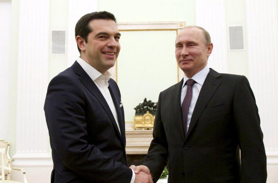 Graikijos premjeras Aleksis Cipras ir Rusijos prezidentas Vladimiras Putinas