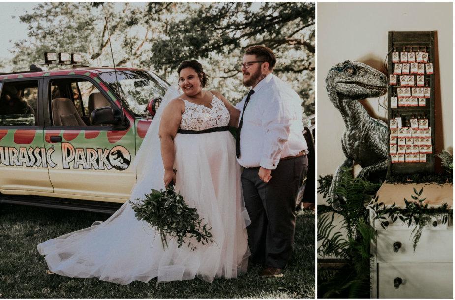 """Courtney ir Billy McMillionų vestuvės """"Juros periodo parko"""" tema"""
