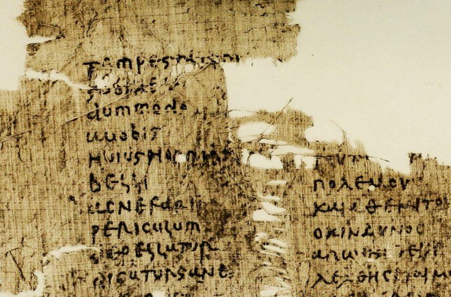 5 amžiaus papirusas su tekstu lotynų ir graikų kalbomis