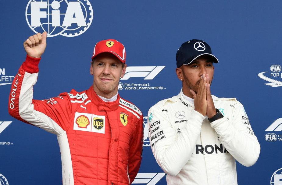 """""""Formulės 1"""" kvalifikacijoje Belgijos Spa trasoje dominavo L.Hamiltonas ir S.Vettelis"""