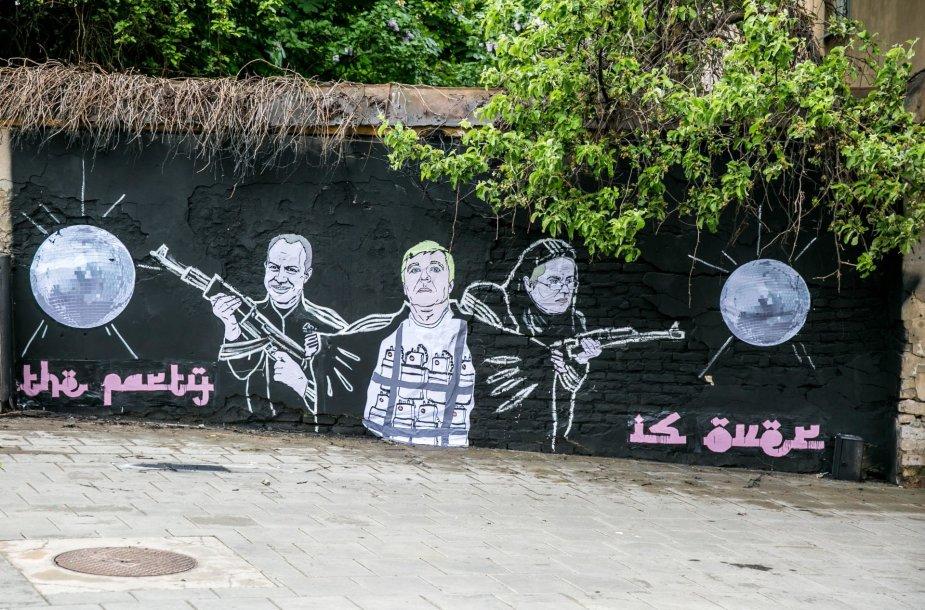 """""""Keulė Rūkė"""" politiniame grafityje """"valstiečiai"""" lyginami su teroristais"""
