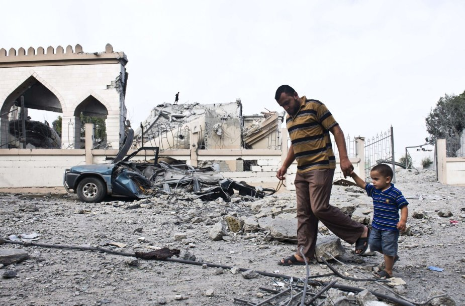 Pastato griuvėsiai Gazos Ruože
