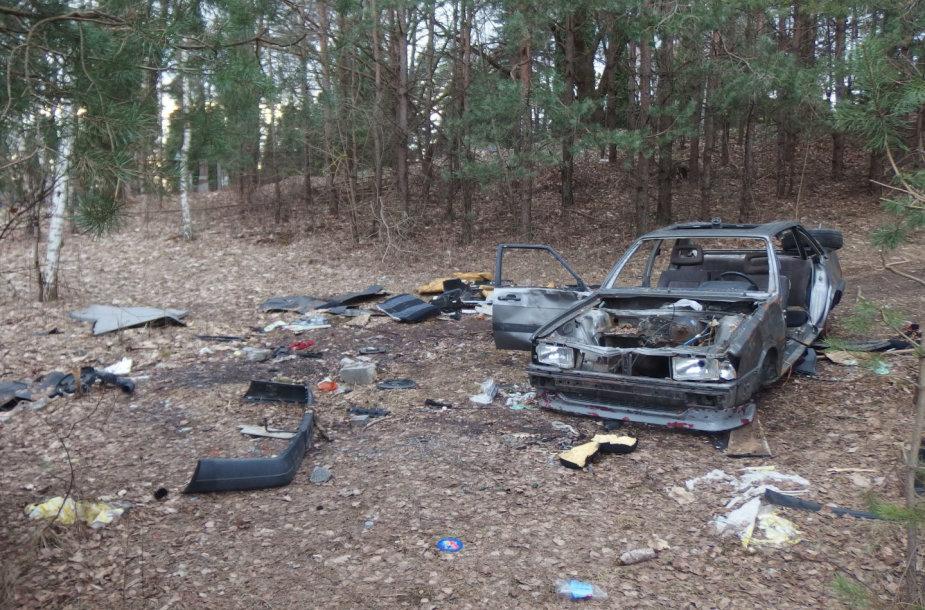 Sudegęs automobilis Vilniuje, miške Ozo g.