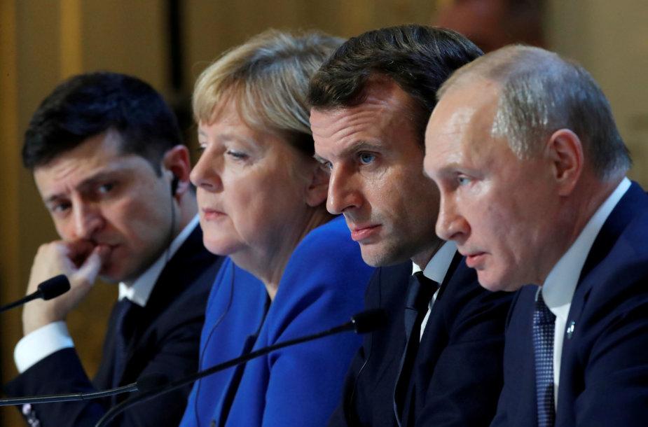 V.Zelenskis, A.Merkel, E.Macronas ir V.Putinas Paryžiuje