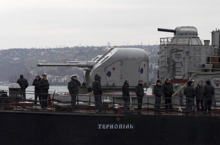 """Jūreiviai Ukrainos kariniame laive """"Ternopil"""""""