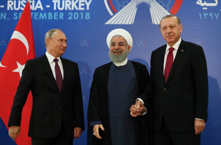 Vladimiras Putinas, Hassanas Rouhani ir Recepas Tayyipas Erodganas