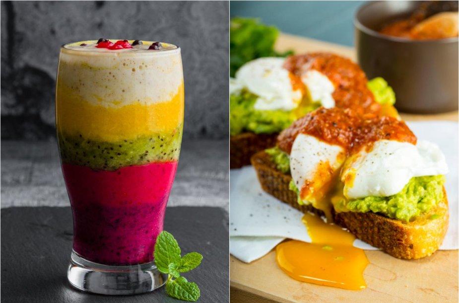 Sluoksniuotas kokteilis ir sumuštinis su kiaušiniu