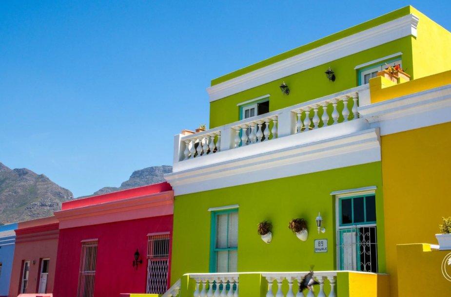 Spalvotasis Bo-Kaap kvartalas Keiptaune, Pietų Afrikoje