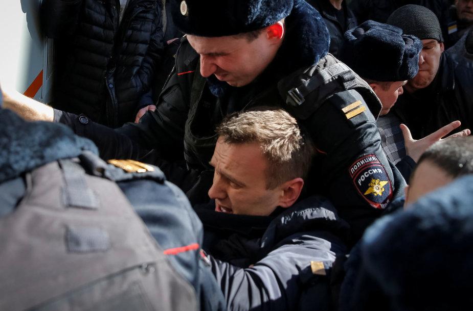 Sulaikytas Aleksejus Navalnas