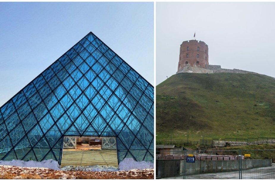 Gedimino kalnas ir stiklinė piramidė