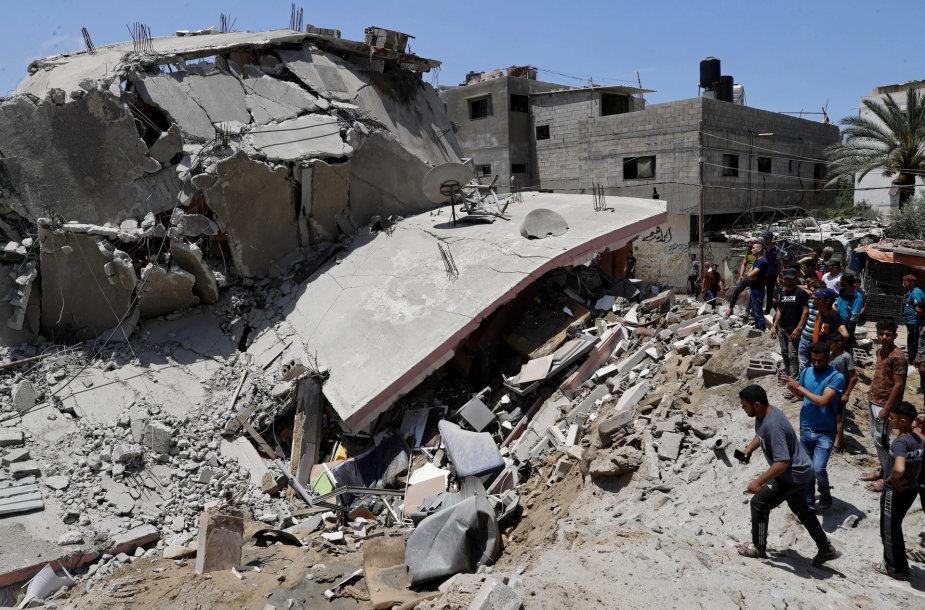 Sugriautas pastatas Gazoje