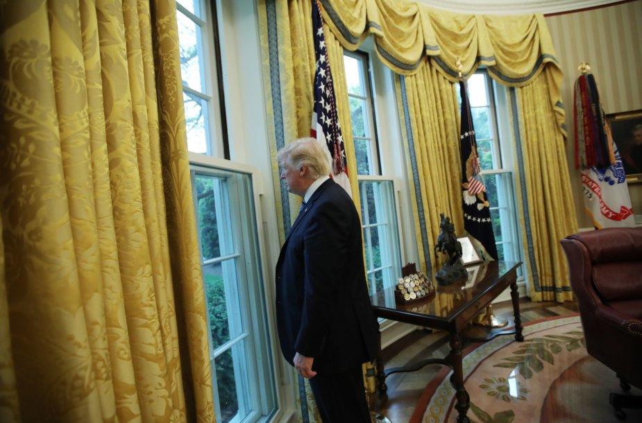 Donaldas Trumpas žiūri pro langą