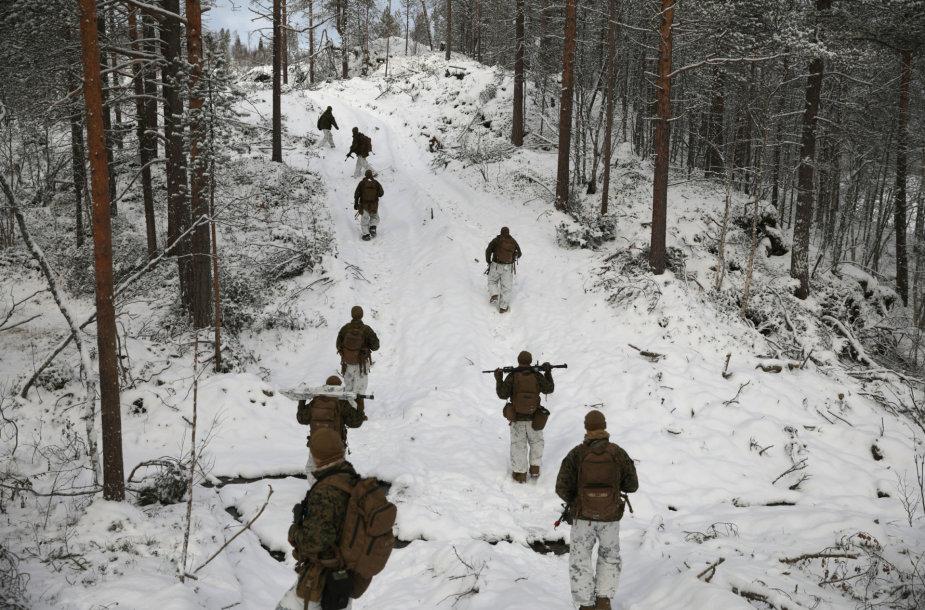JAV jūrų pėstininkai Norvegijos šiaurėje