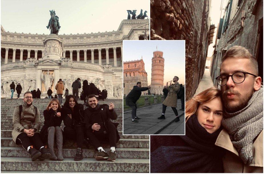 """""""Žemaitukų"""" Lino ir Ovidijus viešnagė Italijoje su širdies draugėmis"""