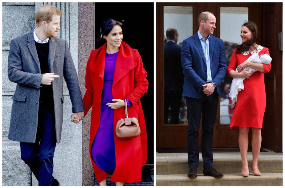 Princas Harry su žmona Meghan ir princas Williamas su žmona Catherine bei jauniausiu sūnumi Louisu