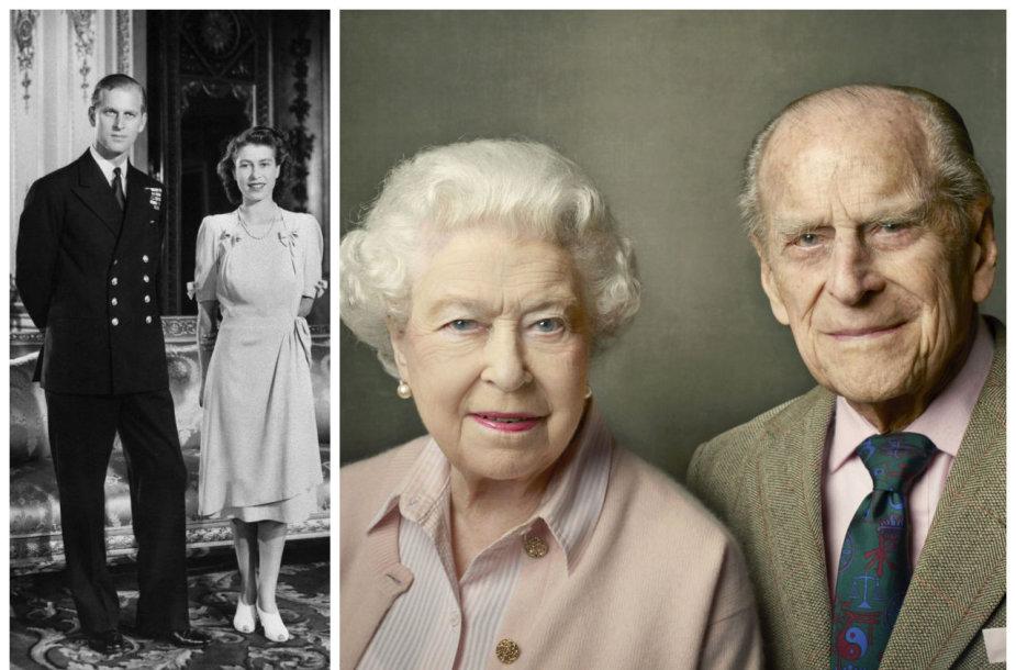 Princas Philipas bei Anglijos karalienė Elizabeth II 1947-aisiais ir 2016-aisiais