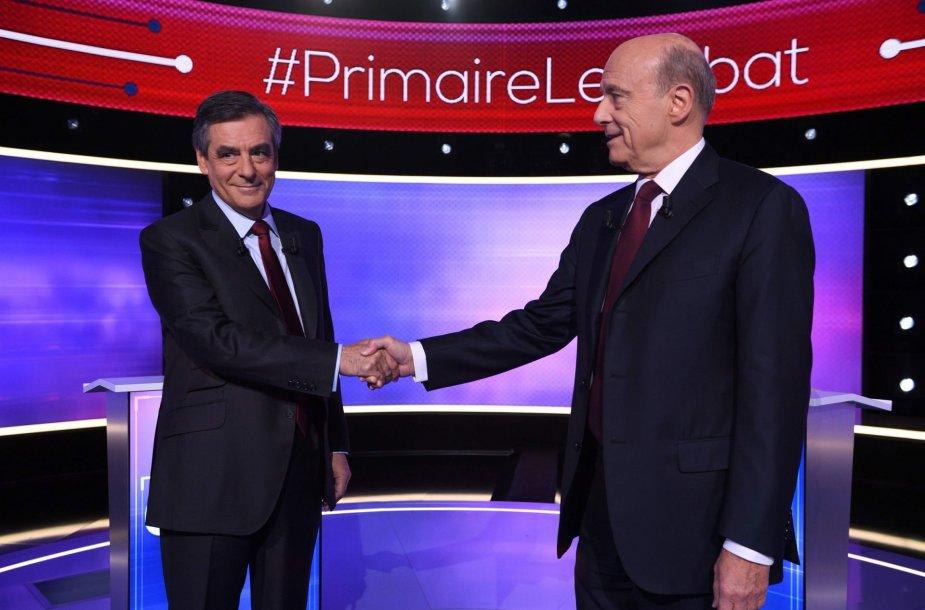 Francois Fillono ir Alaino Juppe debatai
