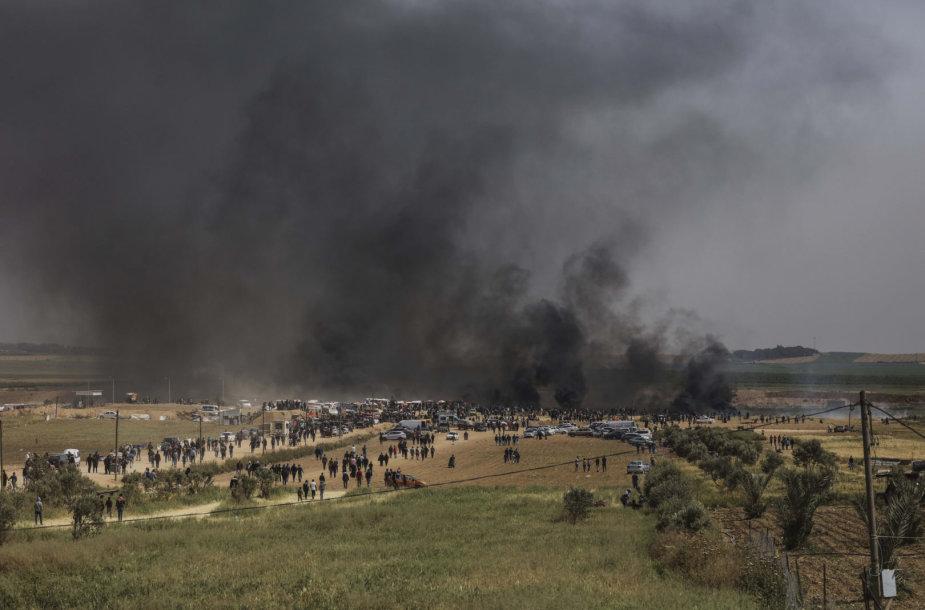 Protestuotojai Gazos Ruože