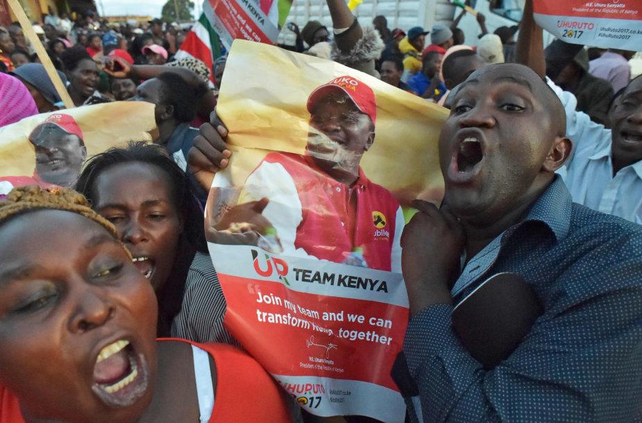 Uhuru Kenyattos šalininkai Kenijoje