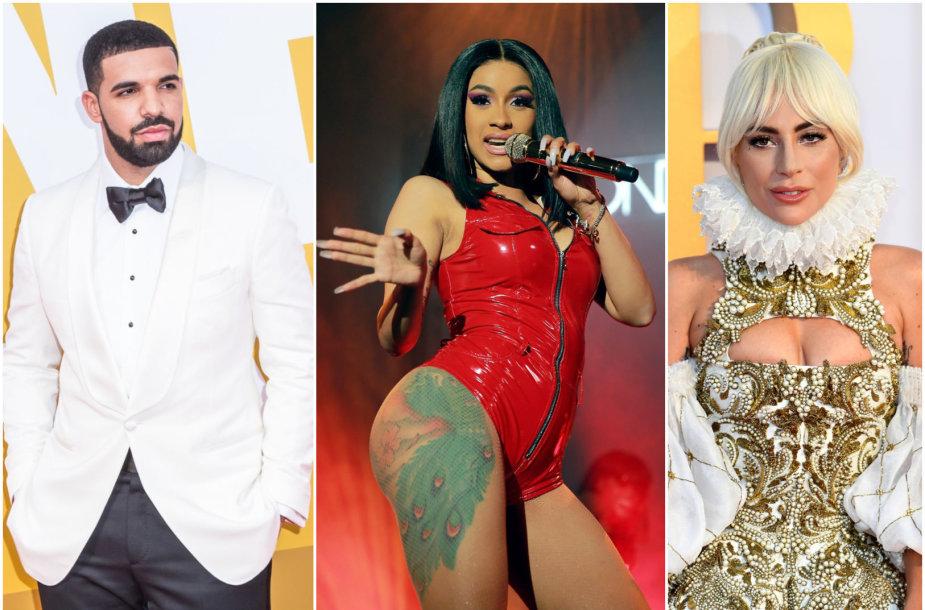 Drake'as, Cardi B ir Lady Gaga