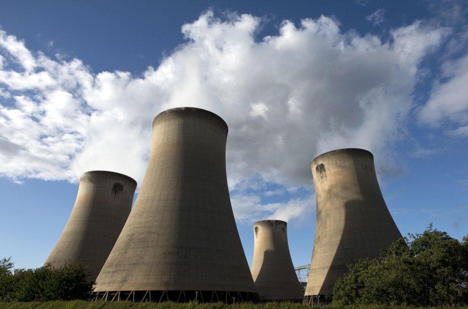 Anglies dioksido emisijos virš anglimi kūrenamos elektrinės Anglijoje
