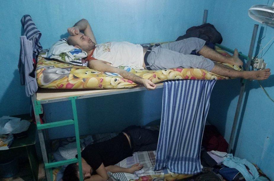 Žymiojo hostelio kambaryje