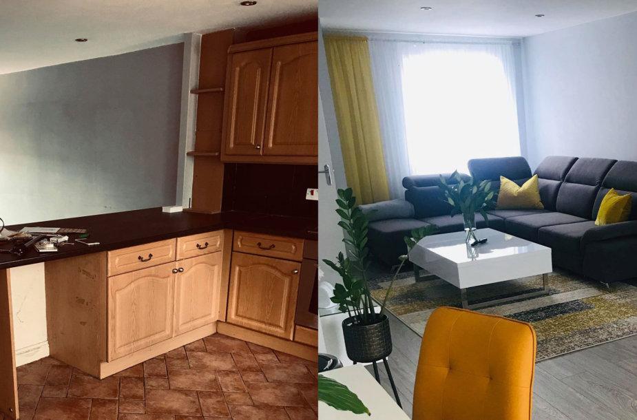 Bostone gyvenančios lietuvės Rasos namai: prieš remontą ir po jo