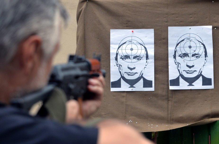 Ukrainos šaudykloje taikiniai su Vladimiro Putino atvaizdu
