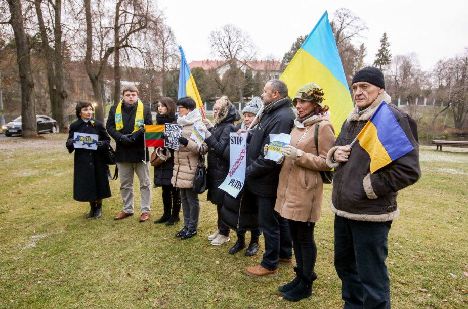 Mitingas prie Rusijos ambasados dėl įvykio Kerčės sąsiauryje