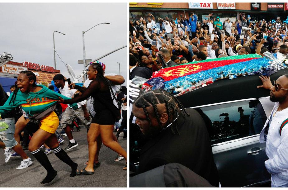 Nipsey Hussle'o laidotuvių procesijos akimirka
