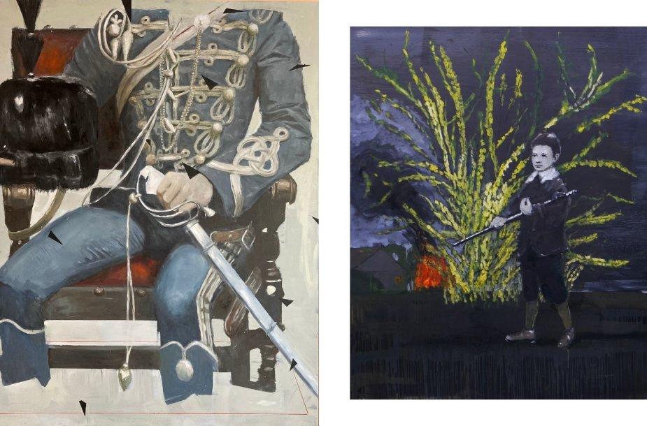 Viktoro Paukštelio paveikslai: Kiautas II, 2020 ir Nakties sargyba, 2019.
